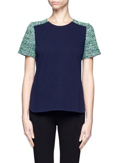 http://www.lyst.com/clothing/jcrew-tweed-sleeve-top-blue-and-green/ #jcrew #fashion #tweed