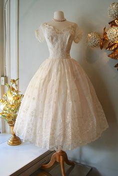 Vintage 1950s Eyelet Tea Length Wedding Dress with Floral Embroidery