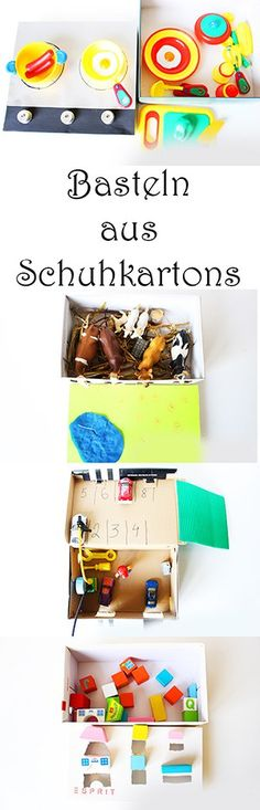 Basteln mit Kindern aus Schuhkartons 4 Ideen Garage, Bauernhof, Spielküche, Steckspiel