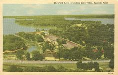 Vintage postcard, Indian Lake, Ohio- by the Sandy Beach amusement park at Russell's Point