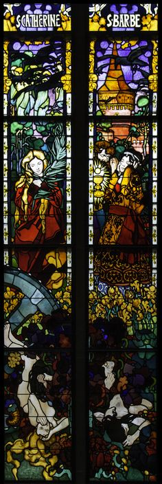 https://flic.kr/p/hQbEGY | St Catherine & St Barbera | Today, 25 November, is the feast of St Catherine of Alexandria, patron saint of philosophers. Together with St Barbara, she was one of the 'Fourteen Holy Helpers', who were very popular saints in the Middle Ages.  This window is one of the set in Fribourg Cathedral by Jozef Mehoffer. They were completed in 1936.