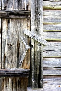 Grey Weathered Barn DoorBoxwoods and artemesia( ?) or another flowering plant that gives this beautiful contrast! Old Doors, Windows And Doors, Scandinavian Garden, Timber Logs, Door Detail, Aging Wood, Old Barns, Weathered Wood, Closed Doors