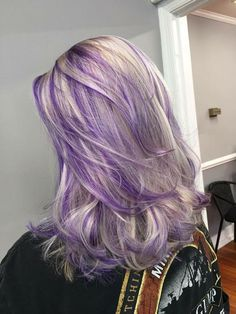 Ash blond and purple hair