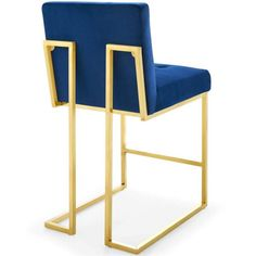 Enlarge an exquisite and ornate glance to your living space with this seamless MODWAY Privy Gold Navy Stainless Steel Performance Velvet Counter Stool. Stainless Steel Bar Stools, Stainless Steel Tubing, Kitchen Counter Stools, Counter Height Stools, Bar Counter, Foot Rest, Modern Decor, Modern Furniture, Upholstery
