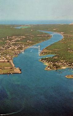 Cape Cod Canal, showing the Sagamore Bridge, the Bourne Bridge and the Railroad Bridge, MA