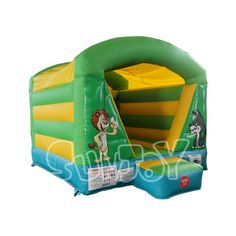 Bright color jungle theme inflatable jump house for sale, more kids bouncers in strock at sunjoy.