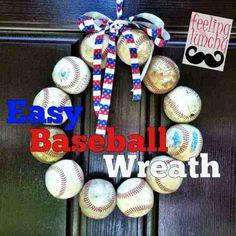feeling a little lunchy: feeling a little crafty...baseball wreath {tutorial}