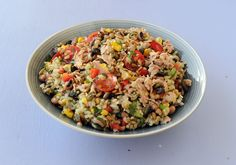 Brown Rice, Bean and tuna Salad / Dis-Chem - Pharmacists who care Healthy Recipe Videos, Healthy Chicken Recipes, Pork Recipes, Healthy Dinner Recipes, Healthy Meals For Kids, Meals For Two, Healthy Eating, Healthy Tuna Salad, Easy Vegetarian Lunch
