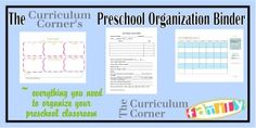 Preschool Organization Binder - early learning planning binder designed by The Curriculum Corner.  Includes colorful binder covers and printable forms of all types to help you keep your preschool or daycare organized.