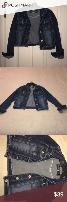 Cropped Denim Jacket Gently used! Super cute. Size medium Maurices Jackets & Coats Jean Jackets
