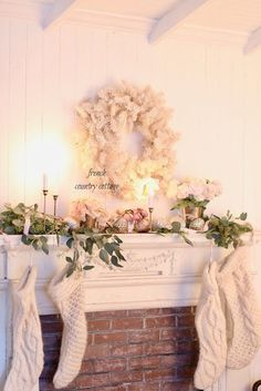 Romantic White Christmas Mantel - I am more than a little obsessed with all things Merry