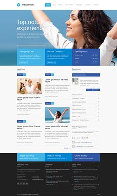 MediCenter – Responsive Medical Health Template by QuanticaLabs , via Behance