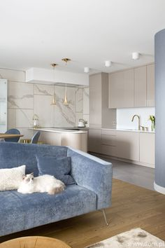 See the elegant layout of the apartment in a feminine style - Home Page Luxury Kitchen Design, Kitchen Room Design, Home Room Design, Home Decor Kitchen, Interior Design Living Room, Living Room Designs, Living Room Decor, Kitchen Modern, Kitchen Interior