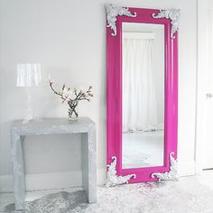 Passion Pink Full Length Mirror by The French Bedroom Company Mirrored Furniture, Diy Furniture, Furniture Design, Home Decor Mirrors, Diy Home Decor, Shabby Chic Mirror, Pink Mirror, Huge Mirror, Mirror Mirror