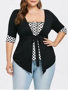 Plus Size Ruffle Polka Dot T-Shirt Women Casual Faux Twinset T-Shirts Women Summer Square Neck Half Sleeves Ladies Tops Black XL Plus Size T Shirts, Plus Size Tops, Plus Size Women, Plus Size Dresses, Plus Size Outfits, Polka Dot T Shirts, Look Plus Size, Diy Mode, Style Casual