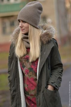 Купить Шапка вязаная Beanie Feelmore cashmere double - серый, коричневый цвет, шапка вязаная