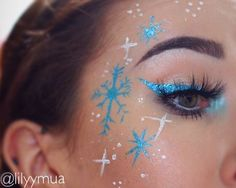 Practising different Christmas looks today, there's a lot more glitter on my face but I can never get it to show up in photos   Products -  The blue metallic ❄️and eyeliner are done using the @nyxcosmetics @nyxcosmetics_australia Glam liner Aqua luxe in 01  The white sections are white face paint  @benefitcosmetics @benefitaustralia - Ka brow in 04  @luxylash - Homegirl lashes (code LILY for 20% off)  @jeffreestarcosmetics - Deep Freeze highlighter is my inner corner highlight  #makeup…
