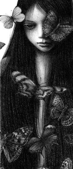 Girl butterfly, illustration girl art print