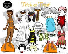 Halloween paper doll set for printing with several fun costume ideas.