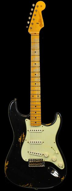Fender 1956 Stratocaster Heavy Relic AA Flame Maple Neck Faded Black