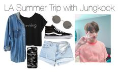 """LA Summer Trip with Jungkook"" by kookiechu ❤ liked on Polyvore featuring Vans, Oliver Peoples and Mr. Gugu & Miss Go"