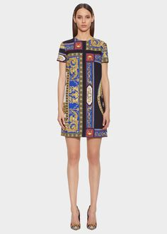 The Lovers Print Shift Dress from Versace Women's Collection. Crew neck, short sleeved shift mini dress in The Lovers print. An everyday staple elevated by a modern print. Versace, Purchase History, Modern Prints, Print Shift, Clothes, Collection, Dresses, Lovers, Women