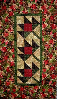 Quilted fall Maple Leaf pattern table runner