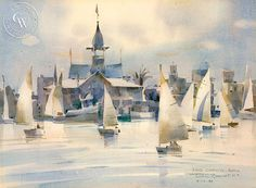 Rex Brandt California Watercolor - Fog Coming, Balboa, 1980 – California Watercolor