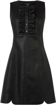Womens black faux leather ruffle dress from Warehouse - £55 at ClothingByColour.com