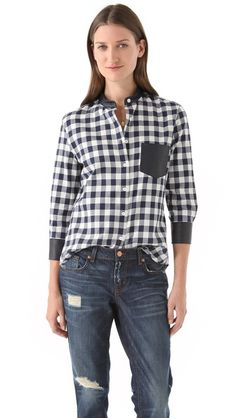 Boy. by Band of Outsiders Easy Shirt with Leather Pocket