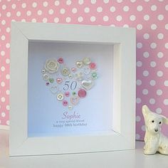 Are you interested in our Personalised Birthday Button Heart ? With our Personalised Birthday Button Artwork you need look no further. Button Art, Button Crafts, Homemade Gifts, Diy Gifts, Handmade Frames, Personalised Frames, Happy 50th Birthday, Birthday Frames, Frame Crafts