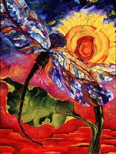 Beautiful art of the dragonfly. Colorful painting with sunflower and dragonfly.