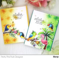 Marge here with you to share my cards featuring the new stencils along with other new stamps/dies from the June Release. We have four new stencils and I'm going t… Scrapbook Expo, Scrapbooking, Scrapbook Cards, Pretty In Pink, Leaf Stencil, Stencils, Tropical Background, Die Cut, Bird Cards
