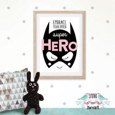 Super Batgirl Print #wallart #nursery #kidsdecor #batman #superhero #spunkandheart