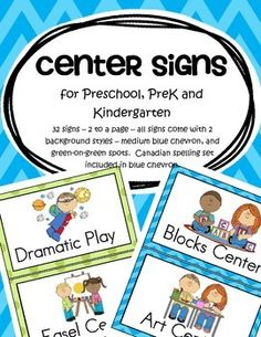 This is a set of center signs for preschool, PreK and Kindergarten. 32 signs – 2 to a page – all signs come with 2 background styles – medium blue chevron, and green-on-green spots. A Canadian spelling set is included in blue chevron. 53 pages