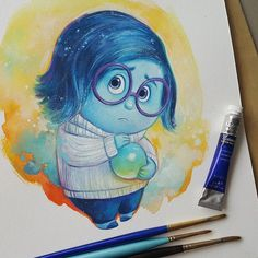 "Pixar ""Inside Out"" Sadness. Winsor&Newton + Schmincke + Daler Rowney watercolor on paper. Art Nouveau Poster, Art Nouveau Design, Sad Drawings, Disney Drawings, Daler Rowney Watercolor, Disney Paintings, Disney Animated Movies, Sad Art, Disney Art"