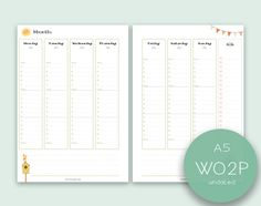 A5/large size undated WO2P  appointments printable planner inserts | Instant download | Spring Spirit collection (2.80 EUR) by TheLittlePlannerShop