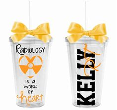Are you a radiology tech or know someone in the radiology profession? This tumbler celebrates their importance in the medical field. It features Radiology is a work of heart on the front and the name and professional designation on the back. These double-walled insulated tumblers keep your drinks at the right temperature. Each comes with a screw-on lid with rubber gasket and a matching straw. Our tumblers fit in any standard drink holder and are BPA free. Size: 6 tall, 3 3/4 diameter at ...