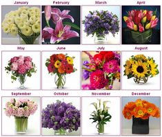 Find out which flowers are in season during your wedding month. For my boquet i want a combo of August and September! <333