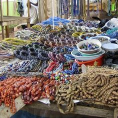 One of the many bead markets visited in West Africa www. - Gift For You Ethnic Jewelry, Beaded Jewelry, Male Jewelry, Jewellery, African Trade Beads, Bead Shop, Handmade Beads, Paper Beads, Beading Supplies