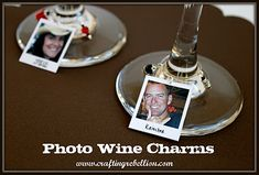 Photo Wine Charms {Party Gift} This is a fun and new take on the wine charm, and a great conversation starter. Create photo wine charms of your friends… Wine Tasting Party, Wine Parties, Party Gifts, Diy Gifts, Party Favors, Host Gifts, Wine Glass Charms, Photo Charms, Wine Time