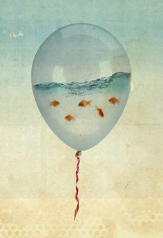 Balloon Fish © Vin ZZEP (Artist). Art Print available in various sizes. $18.00 + ... ... Art, Surreal, Whimsy, Humor, Goldfish - For Coopers room