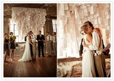 Oh, how I wish I could have this for my wedding.  It's an altar decoration made of receipt paper!