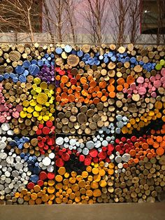 Painted logs - chic and artsy yet perfectly practicalBRAVO!!