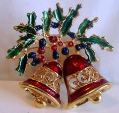 Vintage Christmas Brooch Large Bells with by AntiqueAlchemists, $8.00