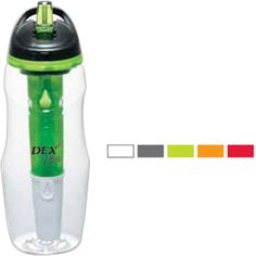 Cool Gear (R) Water Filtration BPA Free Sport Bottle 26 oz... Made from Tritan Copolyester, this bottle features a patented filter and freezer stick system which reduces chlorine taste and other impurities. Can filter up to 150 gallons of water before being replaced after approximately 4 months depending on usage. Water flows easily through built in straw and filter to produce cold, great tasting water. BPA free. Filter refills are available.