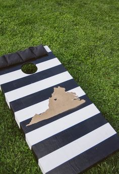Navy and white, gold and stripes, cornhole //  A Muse Photography