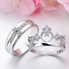 Cheap ring set, Buy Quality wedding ring set directly from China couples wedding bands Suppliers: Pair White Gold Filled 925 Silver Wedding Rings Set His and Her Promise Ring Couple Wedding Band Vintage CZ Jewelry Wedding Rings Sets His And Hers, Rings For Her, Promise Rings For Couples, Couple Rings, Beautiful Wedding Rings, Silver Wedding Rings, Silver Rings, Wedding Ring Styles, Wedding Bands