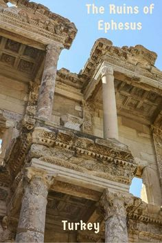 Looking up at the Ephesus library often considered to be one of the most impressive buildings in the Roman Empire. See more photos of the ruins of Ephesus on the article  via @Rhondaalbom
