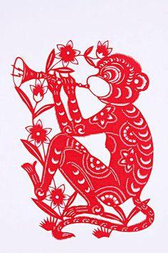 Chinese paper cutting — monkey